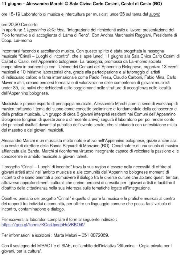 Comunicato Stampa Festival Crinali 2018 Alessandro Marchi