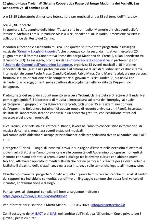 Comunicato Stampa Festival Crinali 2018 Luca Troiani