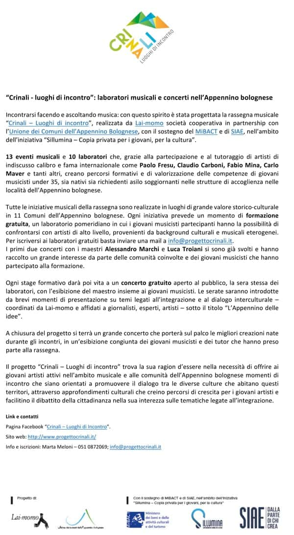 Comunicato Stampa Festival Crinali 2018 la Repubblica