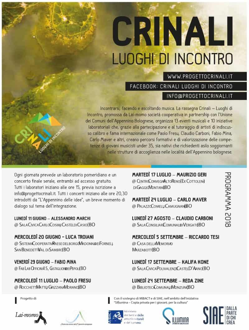 Cartolina Programma Crinali Festival Bologna 2018