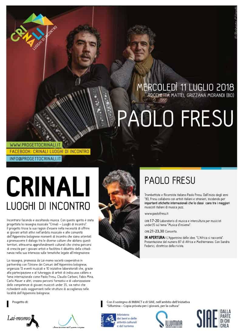 Paolo Fresu Crinali Concerti e Workshop Bologna 2018
