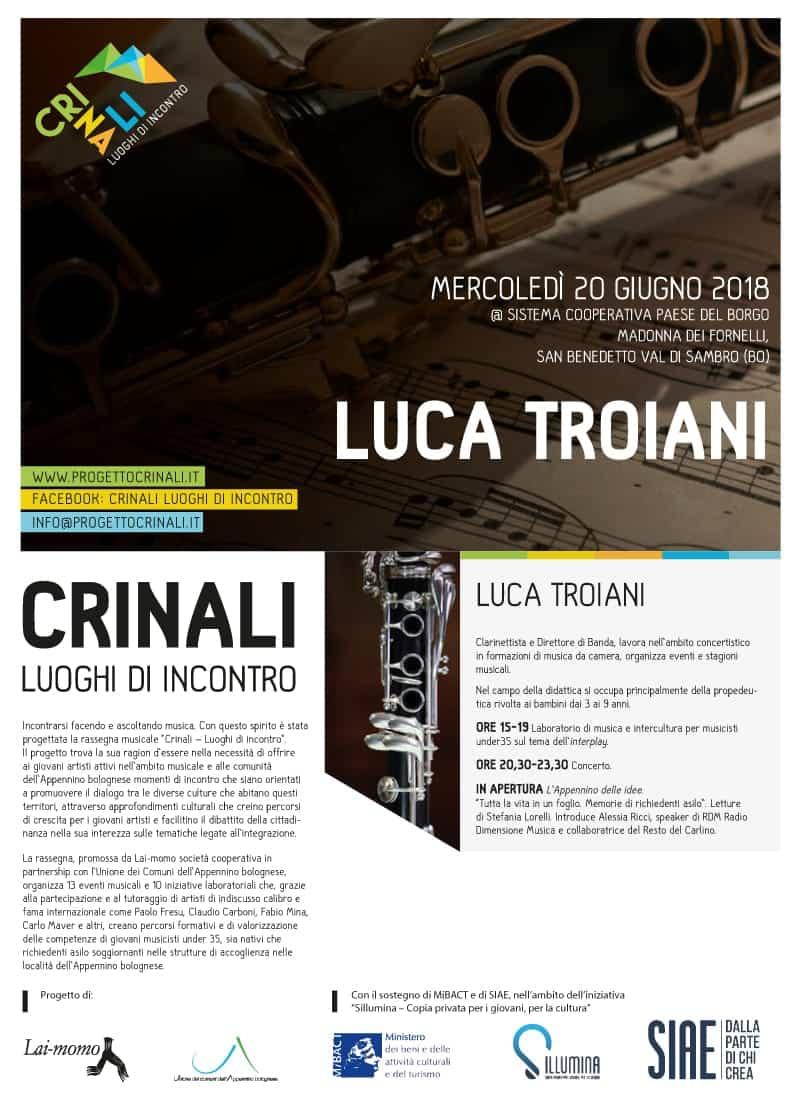 Luca Troiani Crinali Concerti e Workshop Bologna 2018