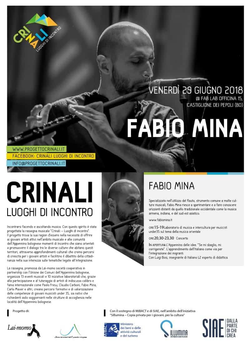 Fabio Mina Crinali Concerti e Workshop Bologna 2018