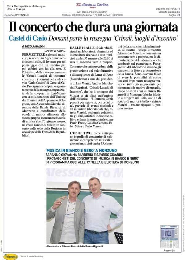 Rassegna Stampa Rassegna Crinali 2018 il Resto del Carlino
