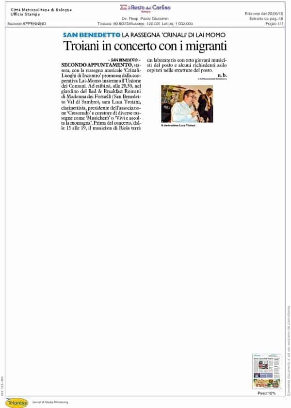 Rassegna Stampa Festival Crinali 2018 il Resto del Carlino