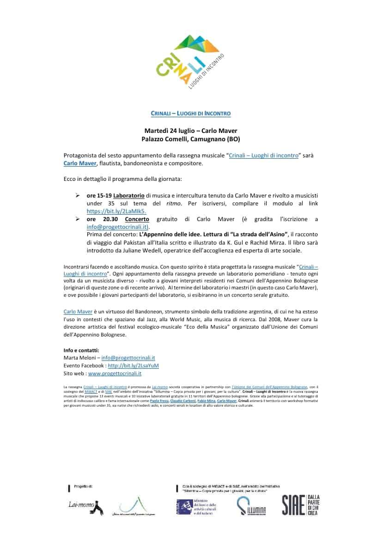 Comunicato stampa Carlo Maver Progetto Crinali Appennino Bologna 2018