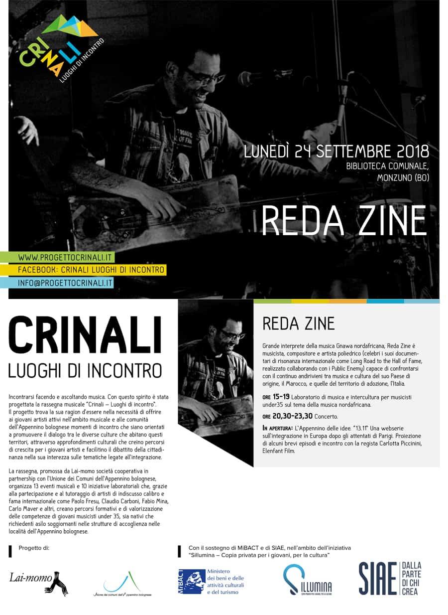 Reda Zine Crinali Settembre 2018 Festival Musica Grtuito Bologna Copperativa Lai-momo Sasso Marconi